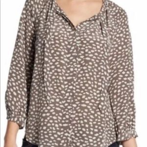JOIE Madera Printed Silk Tie-Neck Bow Blouse Sz M